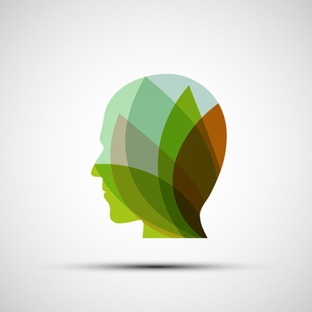 Silhouette of a man from the leaves. Vector image. Illustration