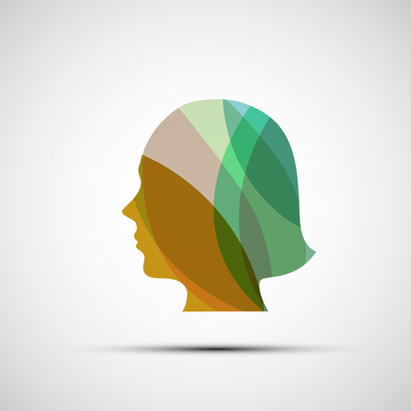 feminize: Silhouette of a girl from the leaves. Vector image.