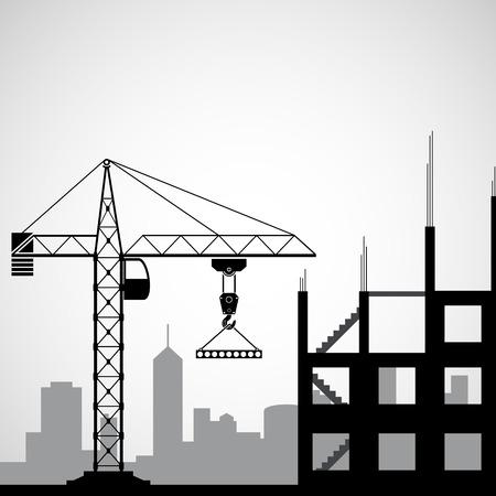 bouwkraan: logo bouwkraan. Vector afbeelding.