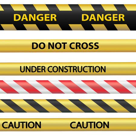 under construction sign: Signal warning tape. Isolated on white background. Technical works and construction works. Stock Vector.