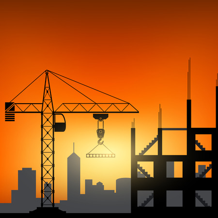 insulate: Construction cranes at sunset background. Vector image. Illustration