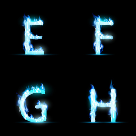 ardent: Set of letters in blue flame. Vector Image.