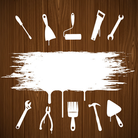 carpenter tools: Industrial tools silhouettes painted on the wall. Vector image.