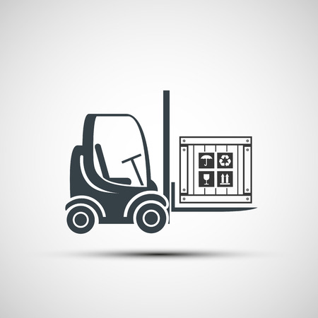 logo forklifts with compartment. Vector image.