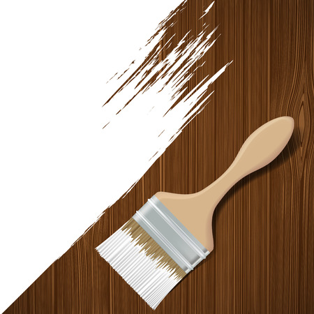 teak: Paintbrush with white paint on a wooden surface. Vector image. Illustration