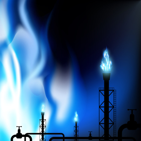 Industrial background. Pipes with a blue flame. Vector Image. Vector