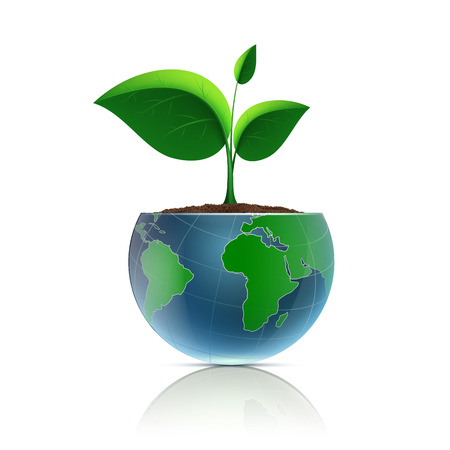 Flower pot in the form of the planet earth. Vector image. Vector