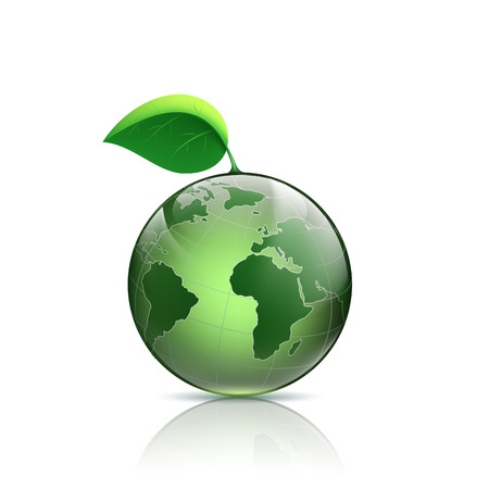 earth logo: Planet earth with green leaf. Vector image. Illustration