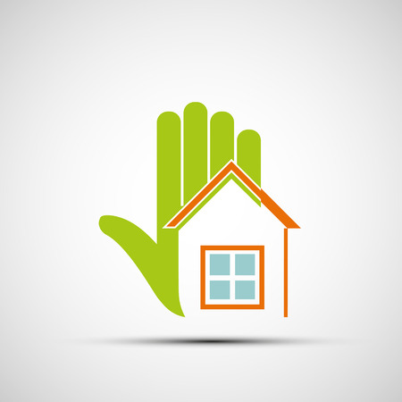 home owner: Logo of the human hand and at home. Vector image. Illustration