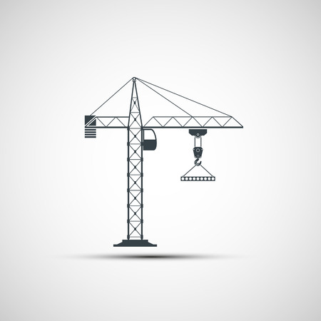 built tower: logo construction crane. Vector image. Illustration