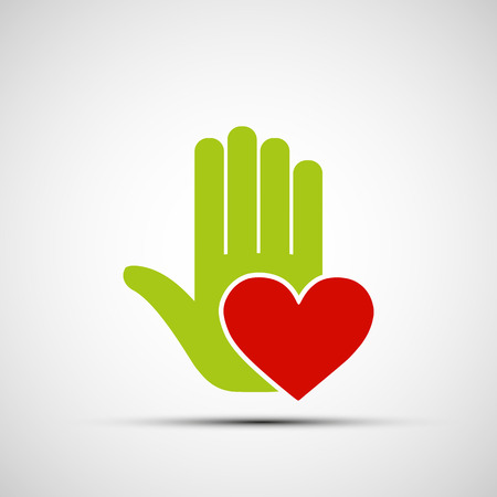volunteer:  human hand holding a red heart. Vector image.