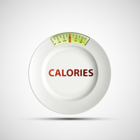 starvation: White plate in the form of scales and the inscription calories. Vector image.