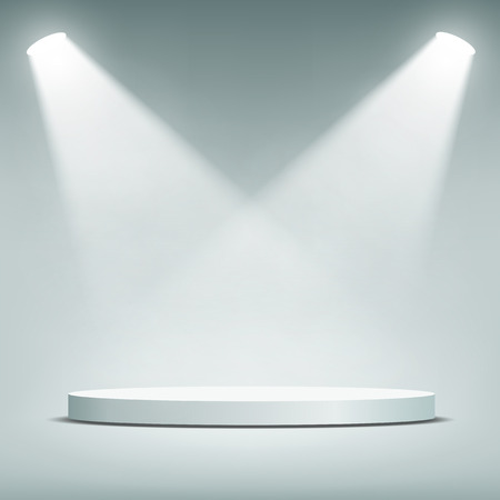empty stage: Round podium illuminated by spotlights. Vector Image.
