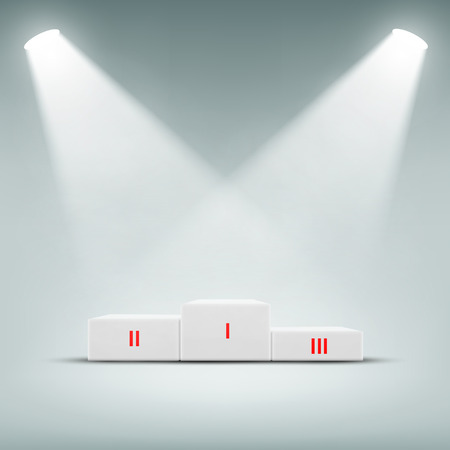 challenge: Podium for winner illuminated spotlights. Vector Image.