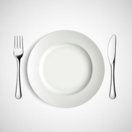 Biały talerz, widelec i nóż. Obrazu wektorowego. Ilustracje wektorowe