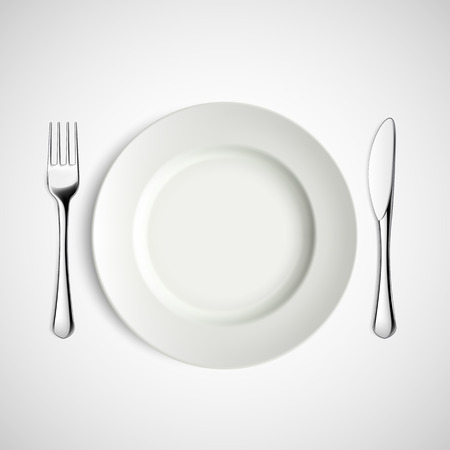 dishes set: White plate, fork and knife. Vector image.
