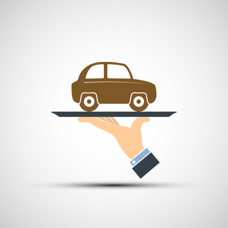 car rent: Hand holding a tray with a car. Vector image.