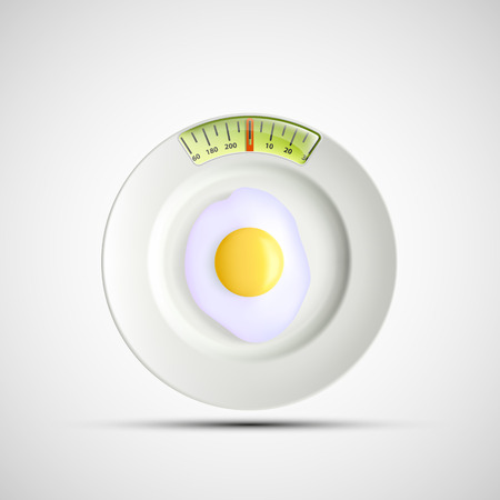 starvation: White plate in the form of of scales and fried eggs. Vector image.