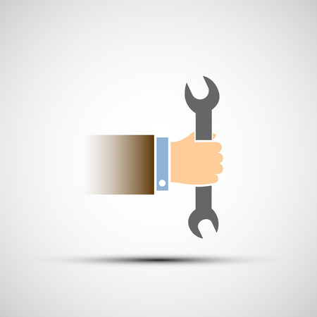 machinist: Hand holding a wrench. Vector image. Illustration