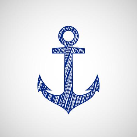 ship anchor: Ship anchor drawn on paper. Vector Image