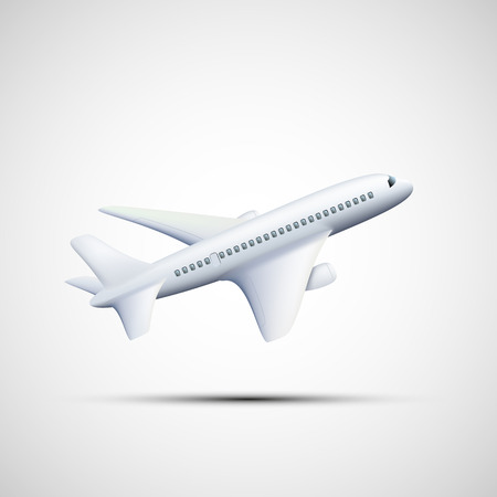 fuselage: Emblem white airplane. Vector image.