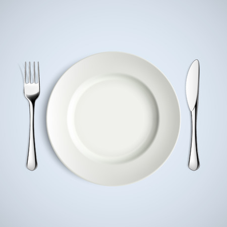 porcelain plate: White plate, fork and knife. Vector image.