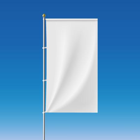 флагшток: Белый баннер на флагштоке. Векторное изображение.