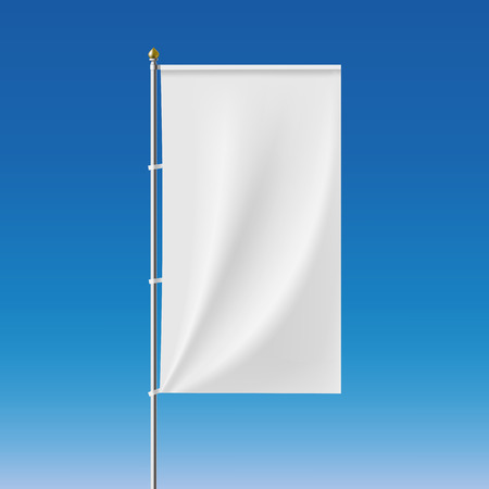 White banner on the flagpole. Vector Image.
