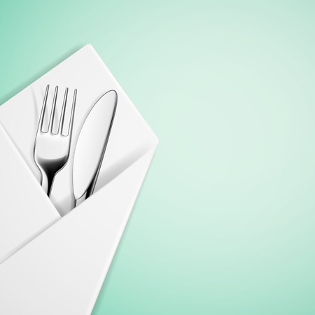 dining set: Fork and knife in a napkin. Vector image.