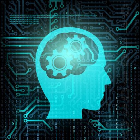기어와 인간의 머리의 실루엣입니다. 칩 및 이진 코드입니다. 주식 벡터. 일러스트