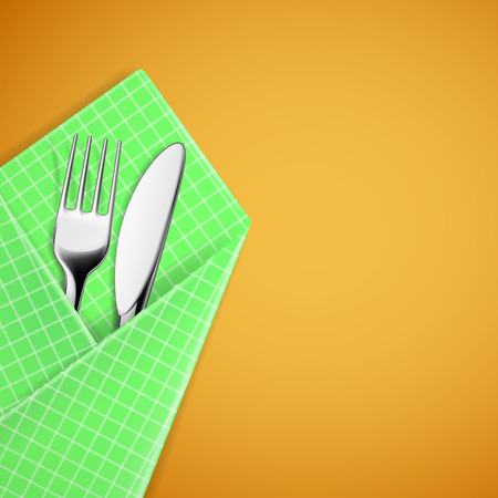 Fork and knife in a napkin. Vector image. Vector