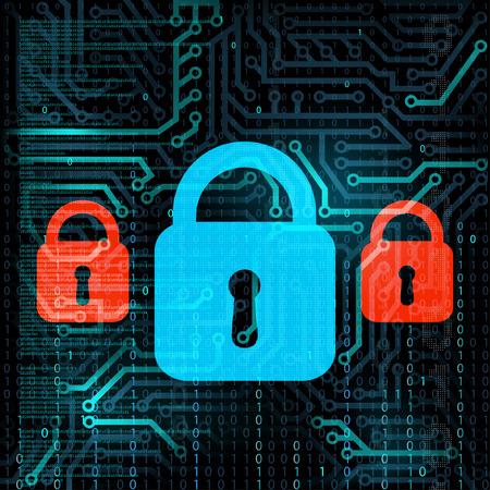 lockout: Technology background. Information storage. Data security. Stock Vector. Illustration