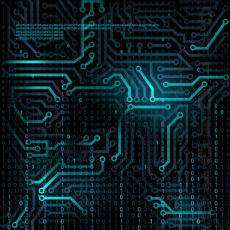 Abstract technology background. Microcircuit. Programming and binary code. Stock Vector. Vektoros illusztráció