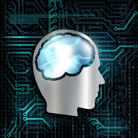 Silhouette of human head. Mental health. NLP. Technology background with microchip and brain. Stock Vector.