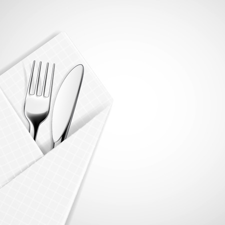 chromium: Fork and knife in a napkin. Vector image.