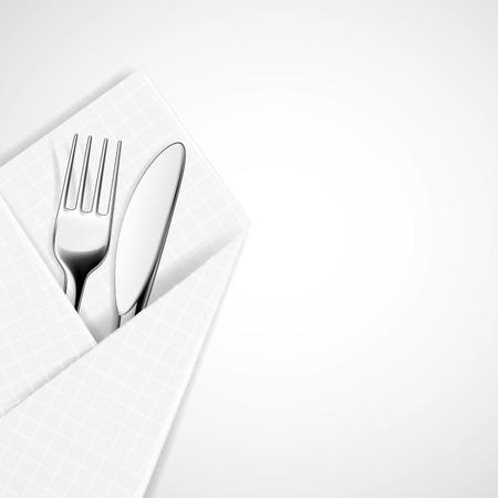 cubiertos de plata: Tenedor y cuchillo en una servilleta. Vector imagen.