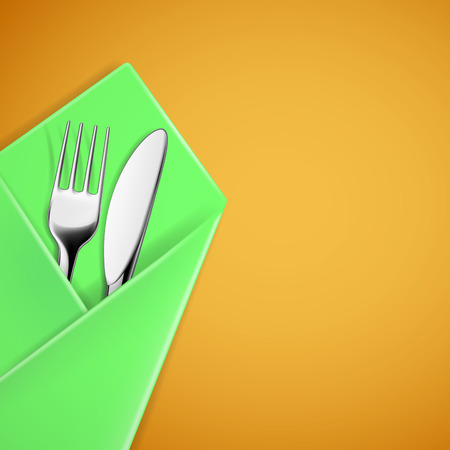 napkin: Fork and knife in a napkin. Vector image.