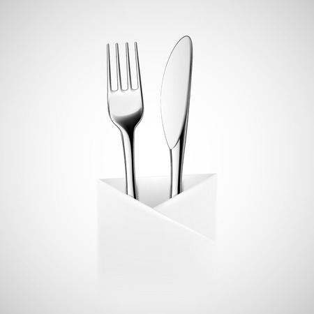 dining set: Fork and knife wrapped in a napkin. Vector image.
