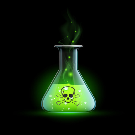 seething: Glass beaker with a poisonous liquid. Vector Image.