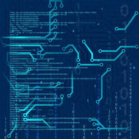 技術の背景を抽象化します。集積回路。バイナリ コードをプログラミング。株式ベクトル。