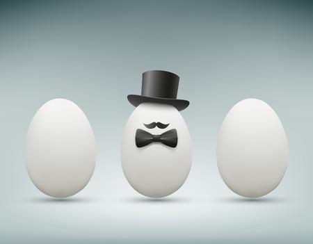 huevo blanco: Huevo de gallina con un sombrero. Imagen vectorial.