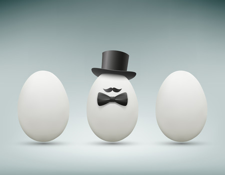 Chicken egg with a hat. Vector Image.