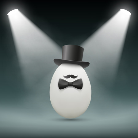 intrigue: Chicken egg with a hat. Vector Image.