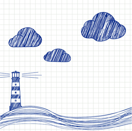 illuminative: The lighthouse and the sea are drawn on paper. Vector image.