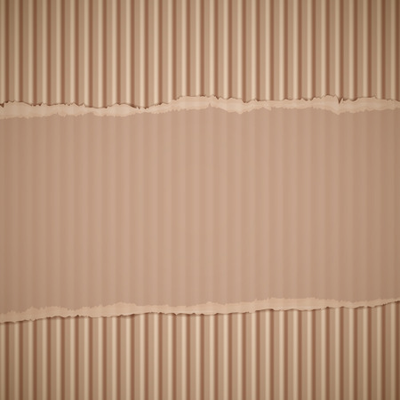Texture of torn corrugated cardboard. Vector background. Vettoriali