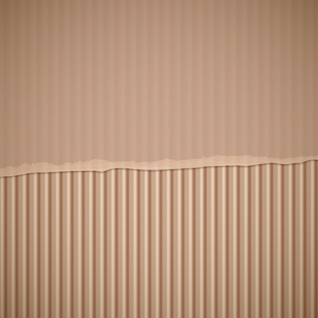 corrugated: Texture of torn corrugated cardboard. Vector background. Illustration