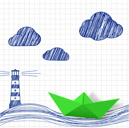 lighthouse keeper: Paper boat and painted lighthouse. Vector image.