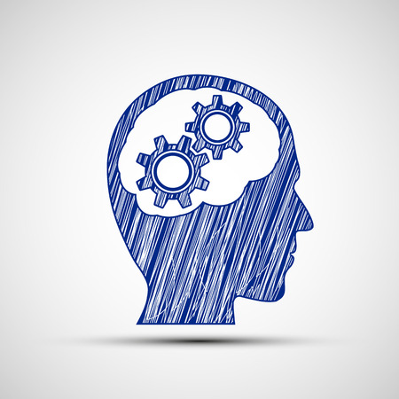 in thought: Head with gears inside. Vector image.