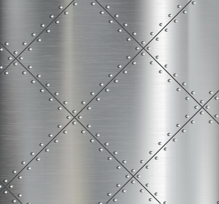 Background of the metal plates with riveted. Vector image. Stock Illustratie