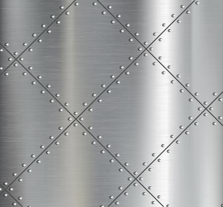 Antecedentes de las placas de metal con remachada. Vector imagen.